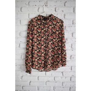 Forever 21 Floral Button Down Shirt